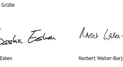 Herzliche Grüße von SPD-Vorsitzenden Saskia Esken und Norbert Walter-Borjans