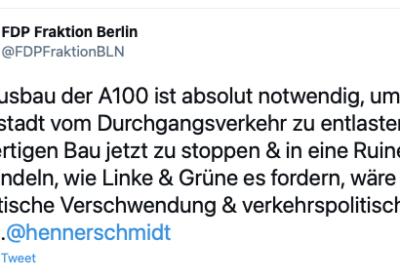 Berliner FDP-Propaganda für A100