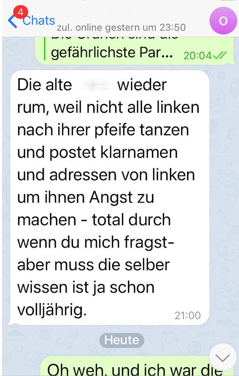 Trollt Jutta? #Ditfurth schrecke nicht davor zurück, Klarnamen und Adressen von linken #Ditfurth-Kritikerinnen zu veröffentlichen, um diese dann bloßgestellten Antifaschistinnen mit der berechtigten Angst vor Übergriffen durch Rechtsextreme einzuschüchtern
