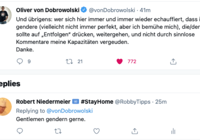Oliver von Dobrowolski gendert auf Twitter.