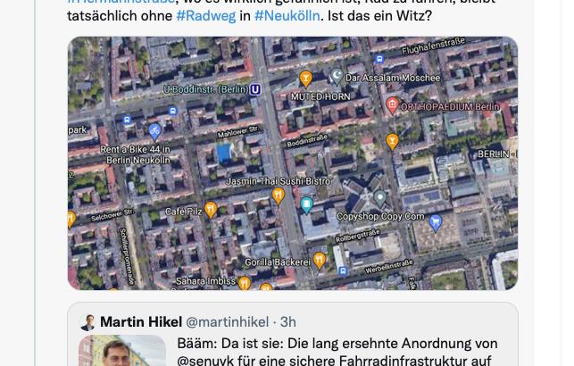 Kein Radweg auf Hermannstraße, wo Radweg bitternötig ist.