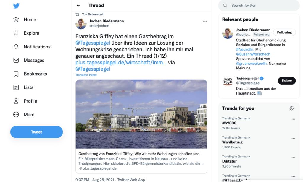 """Jochen Biedermann von den den Grünen schreibt eine Replik auf Twitter: """"Franziska Giffey hat einen Gastbeitrag im @Tagesspiegel über ihre Ideen zur Lösung der Wohnungskrise geschrieben. Ich habe ihn mir mal genauer angeschaut. Ein Thread (1/12) """""""