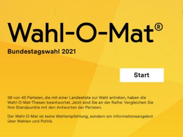 Wahlomat für Bundestagswahl 2021 steht online