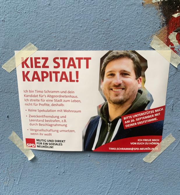 """Glaubwürdigkeitsproblem in Berlin wegen Giffey an der SPD-Spitze: """"Kiez statt Kapital""""-Parole der SPD auf der Reichenberger Straße in Kreuzberg"""