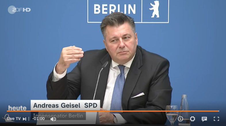 Pressekonferenz am 08. Oktober 2021 in Berlin: Innensenator Andreas Geisel (SPD) sieht selbst keine Fehler ein
